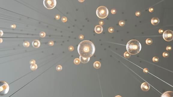 Light bulbs handing from a ceiling