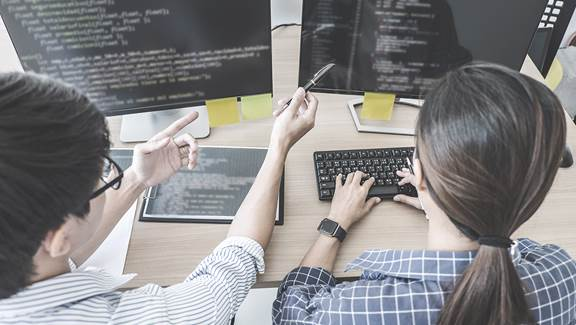 Two employees coding