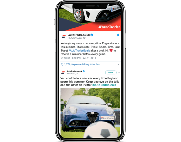 Mobile screenshot of AutoTrader Twitter account