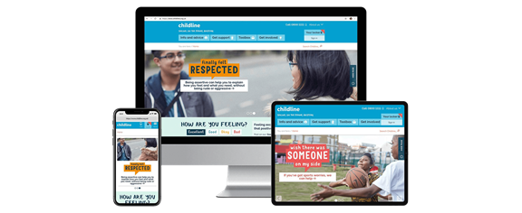 Screenshots of Childline website on different devices