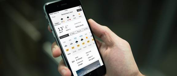 Image of the weather app on the phone