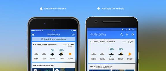 Screenshot of Met Office app on iphone and android