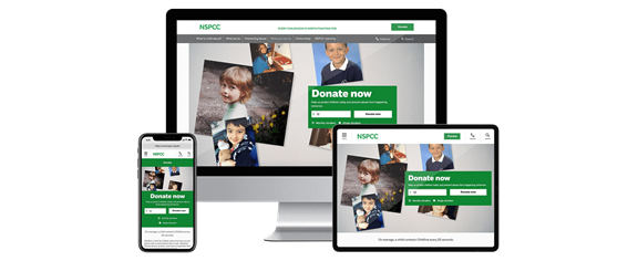 Screenshot of NSPCC site on different devices