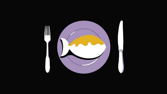 Illustration of a fish on a plate ready for a meal