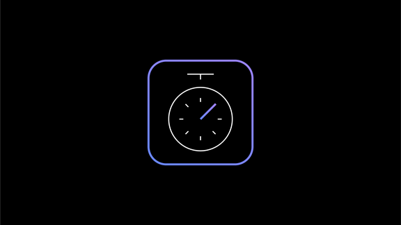 Icon of timer in a box