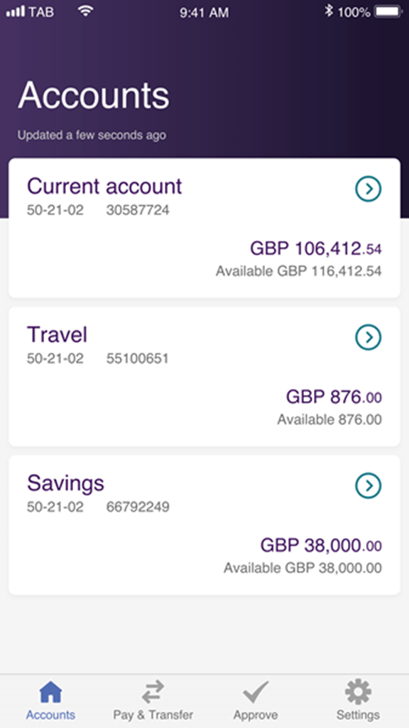 Screenshot of banking page on Bankline Mobile App