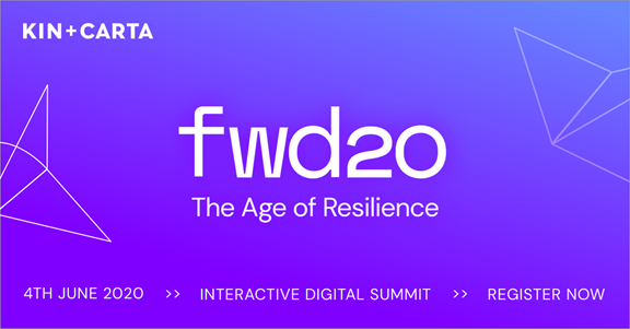 FWD20: The Age of Resilience purple graphic, register now text