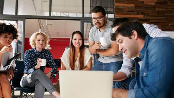 hackathon team discussing ideas