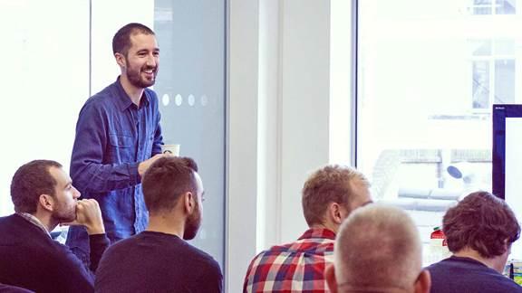 Agile sprint meeting in an office