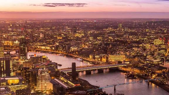 Panoramic of London at night
