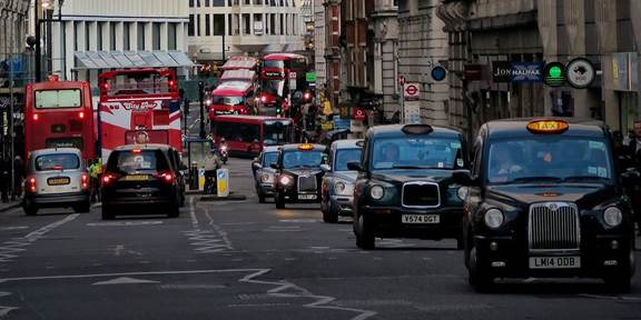 Taxis and bus in London