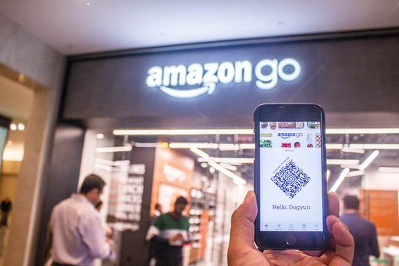 using a smartphone in an amazon go shop