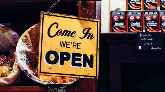 Small business we are open signal