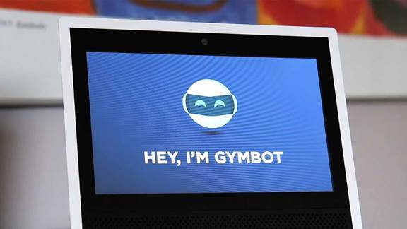 gymbot on a table screen