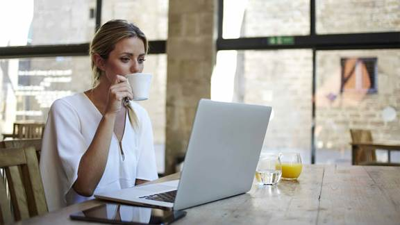 woman working from home with a laptop