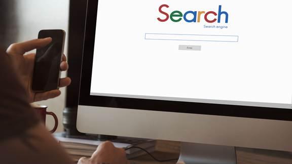 Search engine on desktop screen