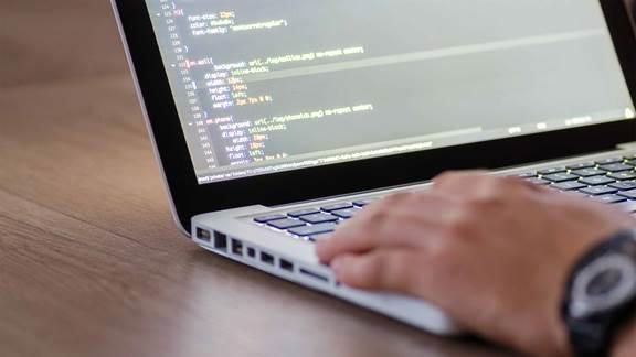 code testing laptop screen detail