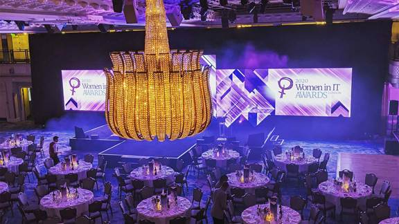 Ballroom hosting the Women in IT Awards Show less