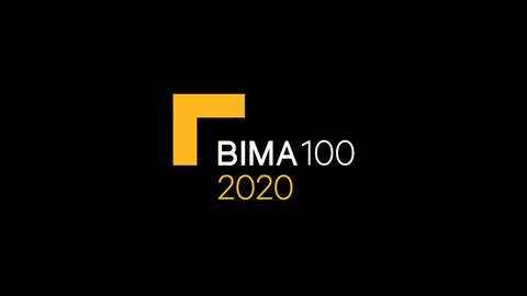BIMA 100 badge black background yellow and white text