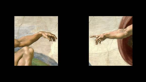 Michelangelo painting split on black background, two hands reaching