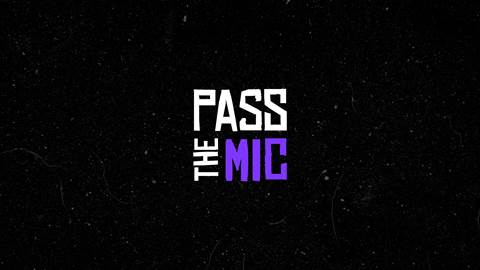 Pass The Mic logo, black background white and purple text