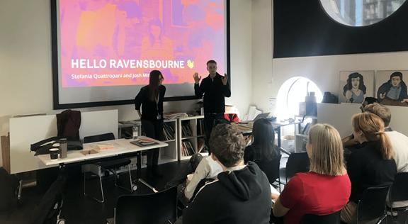 Two Kin + Carta designers teaching Ravensbourne students