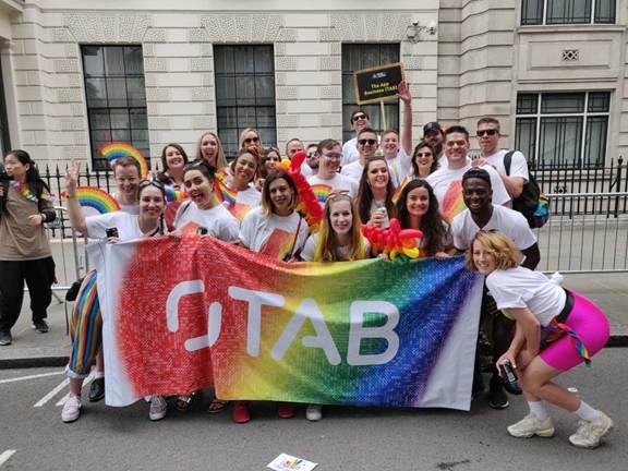 Colleagues celebrating at London Pride 2019