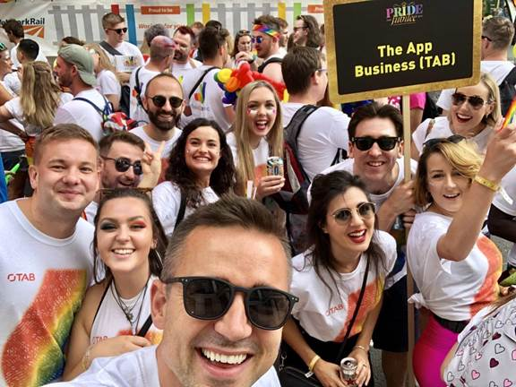 Group selfie during the pride parade