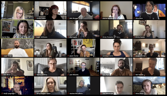 zoom call with 25 people on the screen