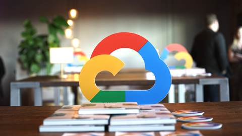 Google Cloud logo floating on desk