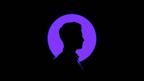 Human silhouette against purple and black background