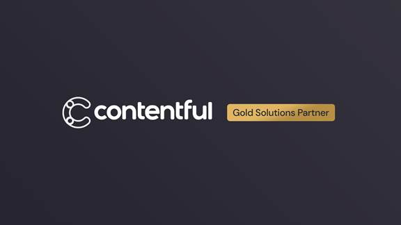 Contentful logo, gold solutions partner text
