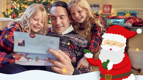 Man reads letter to kids with santa cartoon and text 'Letter from Santa', NSPCC logo