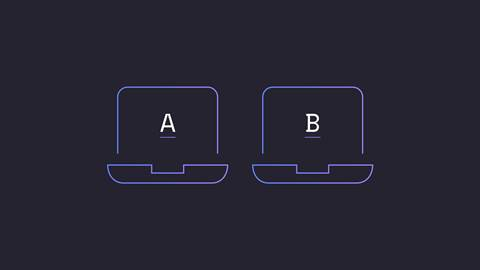 Laptop with letter A inside, laptop with letter B inside