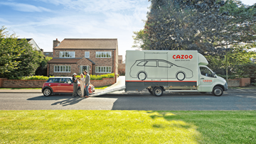 image of Cazoo van dropping off new car to new owners