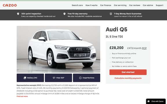 screenshot of the webpage to look at the cars more in depth