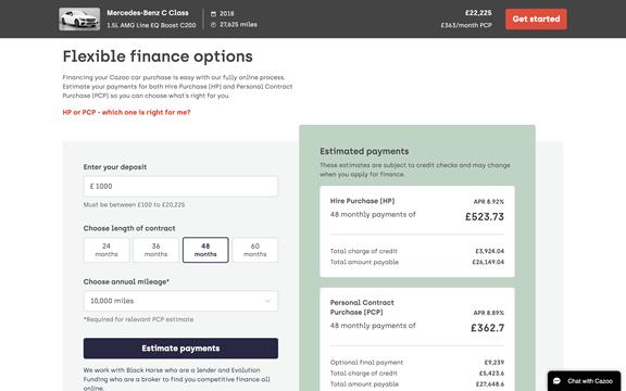 screenshot of web finance page