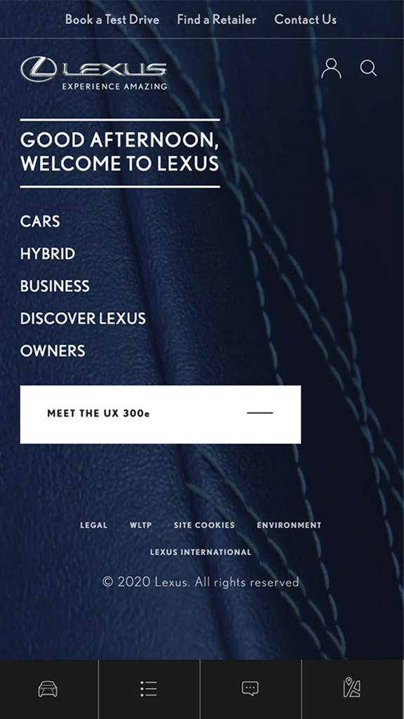 Lexus mobile screenshot 1