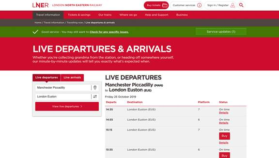 LNER desktop website view