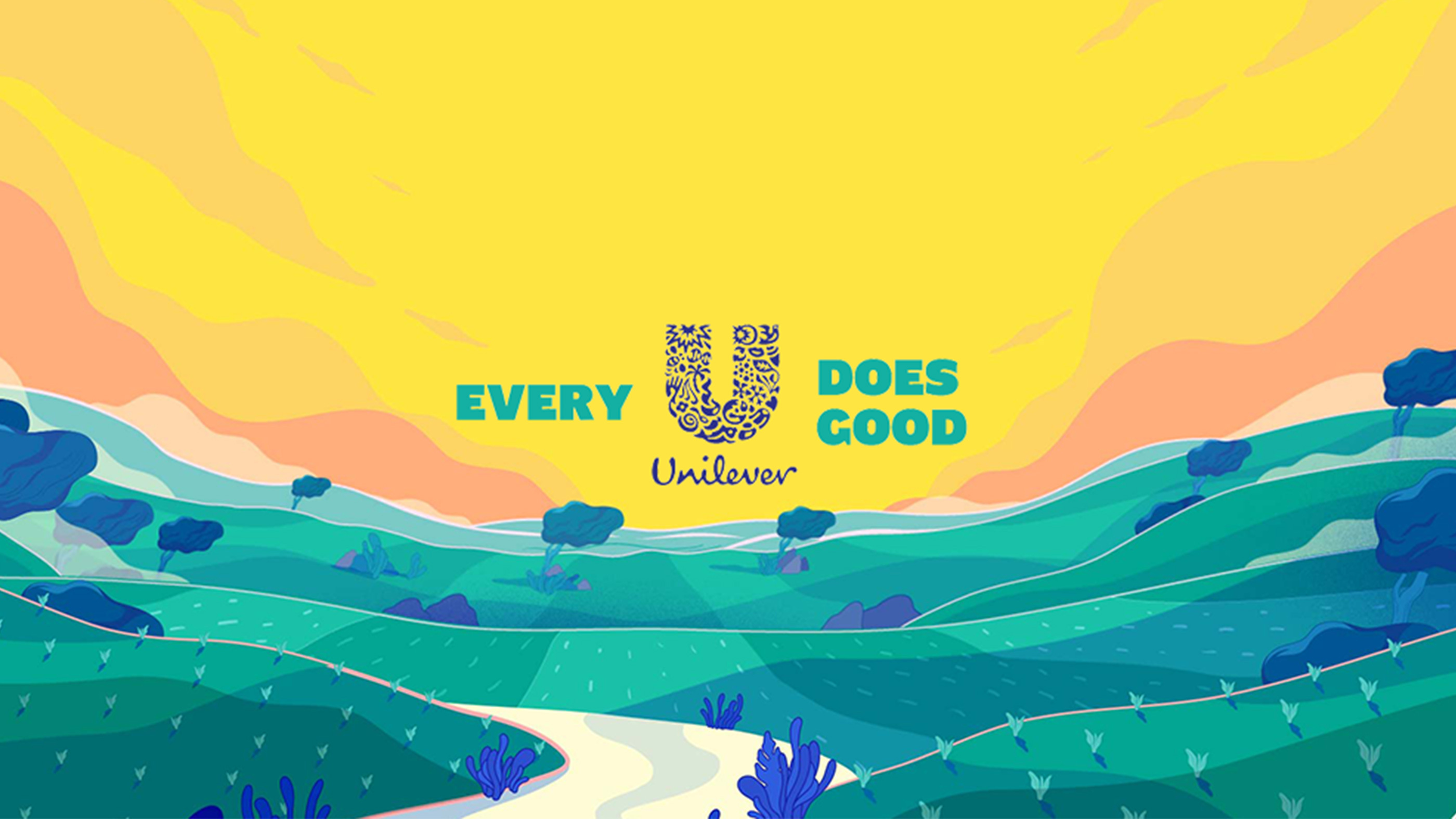 Unilever every u does good logo above animated green hills and skyline
