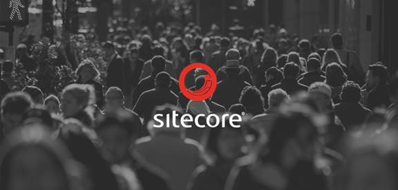 Crowd of people with Sitecore logo
